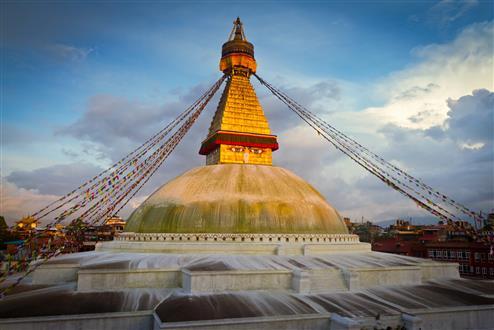 Boudhanath (Boudnath) Stupa at sunset. Kathmandu, Nepal (Custom).jpg