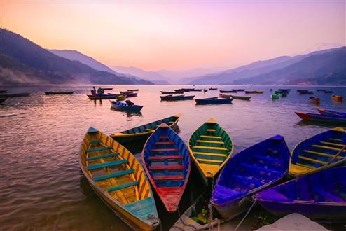 twilight with boats on Phewa lake, Pokhara, Nepal (Custom).jpg